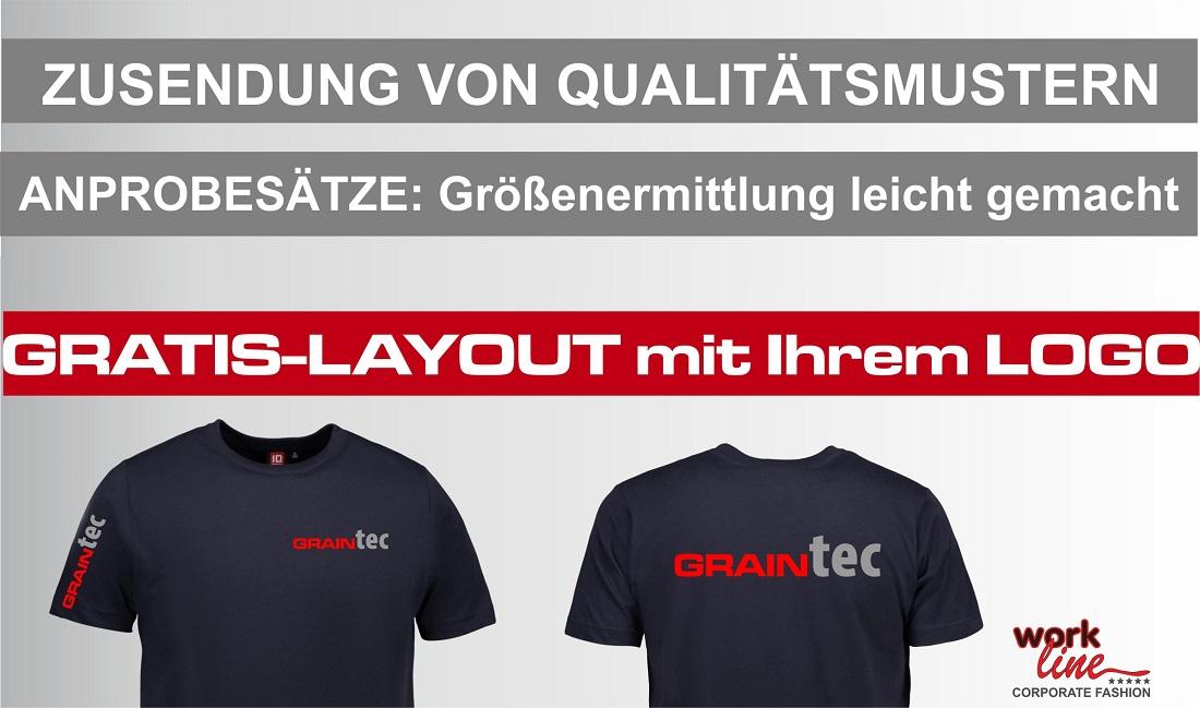 Zusendenung von Qualitätsmustern Berufsbekleidung mit Logodruck