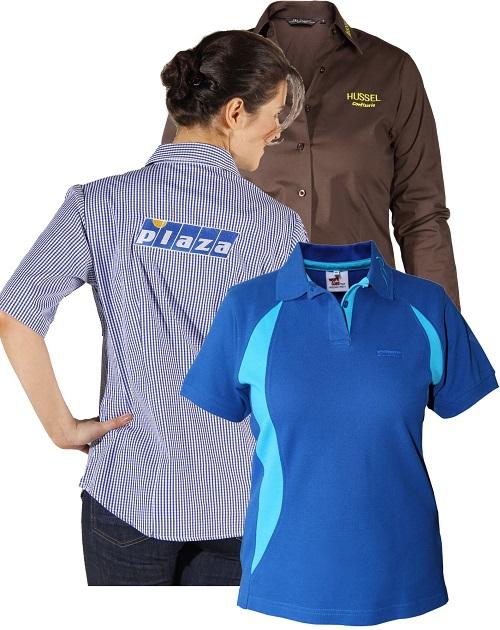 berufsbekleidung Bistroschuerze logo bedruckt pink tuerkis dunkelblau