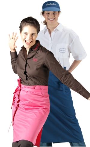 berufsbekleidung schuerze pink blau gastro gastronomie vorbinder serviceschuerze hotellerie