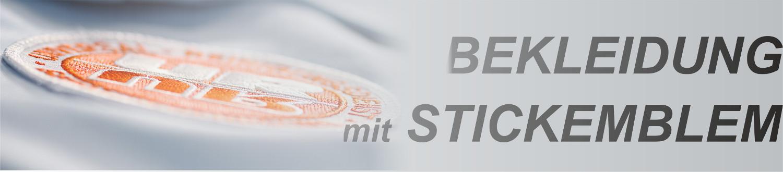 Firmenlogo und Name als Stickemblem bzw. Aufnäher auf Berufsbekleidung