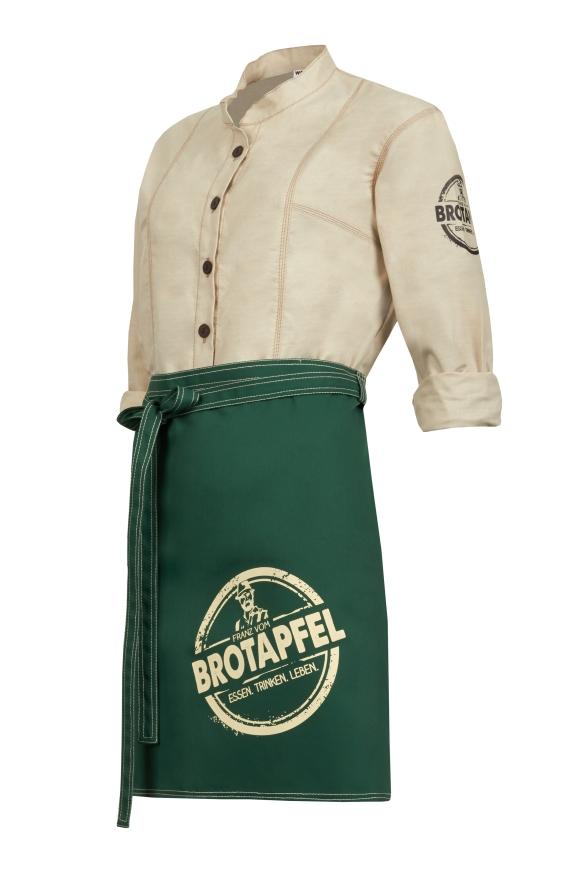 Weiße Bluse mit grüner Schürze Set