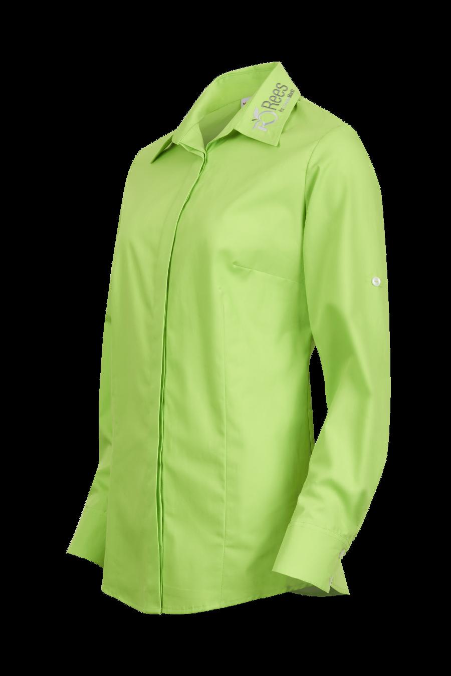 Grüne Bluse mit Kragenbestickung