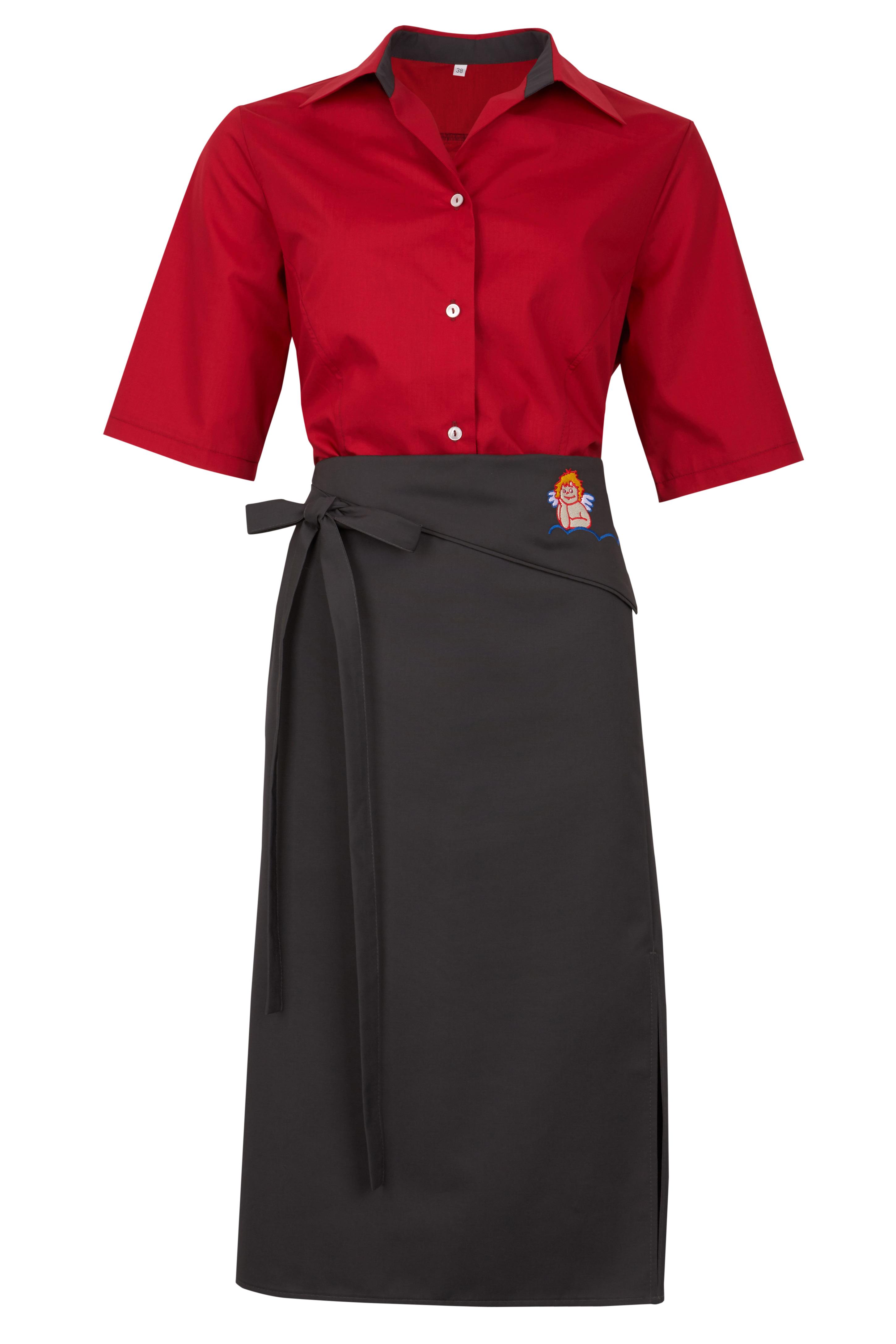 Rote Bluse mit schwarzer Schürze Set